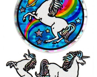 Vintage 80s Prism Rainbow Unicorns Sticker Sheet