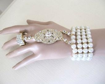 Gold Gatsby pearl bracelet, UK SELLER Daisy Art Deco Flapper Downton Abbey, Great Gatsby bracelet