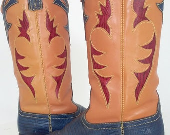 Vintage Women's Cowboy Boots by Sabree//Genuine Leather made in BRAZIL//HIPSTER//Size 6.5