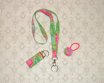 Pink Green Lilly Swirls Peeling Fabric Lanyard Set 3pc