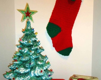 Christmas Stocking - Classic Handmade Old Fashioned Style - Knitted / Crochet - Please See Pictures for Color & Design Details - (#37)