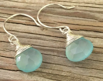 handmade drop earrings blue chalcedony sterling silver wire wrapped hand forged earwires, gift for her gemstone jewelry, boho minimalist