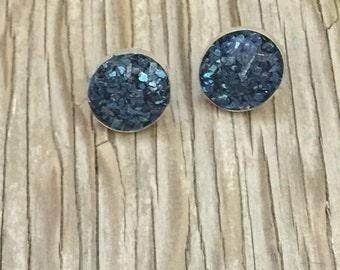 Sing the blues faux druzy sterling silver stud earrings 12mm handmade silver jewelry