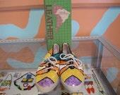 80s 90s TORLISI Multi Color Sequin Ladies Sneakers Keds Size 6.5