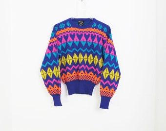 Vintage MEISTER Multicolor Kaleidoscope Motif Sweater Size M