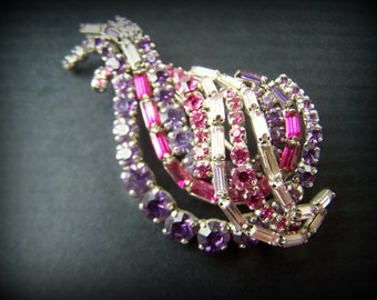 Vintage Rhinestone Paisley Brooch in Fushia and Purple hues 1980s Revival Design Colorful Sparkly Statement Jewelry for Wedding Celebration