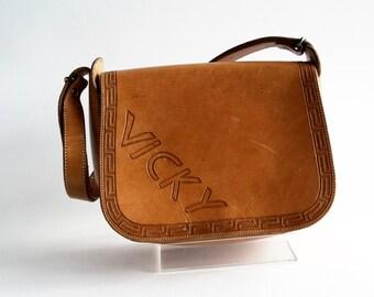 """1970's Vintage Hand Tooled Leather """"Vicky"""" Purse Tote Bag Handbag"""