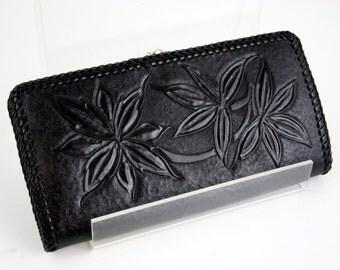 Hand Tooled Black Leather Vintage Wallet