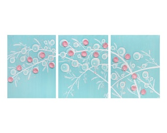Aqua and Pink Baby Girl Nursery Painting of Flowers - Canvas Art Triptych - Large 50x20