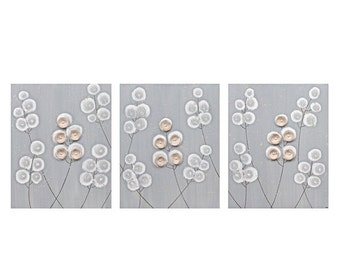 ON SALE Acrylic Painting Canvas Art Flowers - Gray and Brown Triptych - Large 50x20