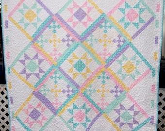 Sweet Pastel Handmade Baby Girl Quilt