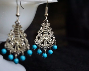 Intricate turquoise chandelier earrings