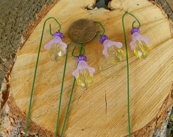Fairy garden Lights Lily (4)  miniature  purple hanging  pathway lanterns w shepherd hook terrarium gnome garden accessory - dollhouse -