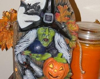 Witch  with Pumpkin     Windowsill Halloween decoration Home & Garden Statue Lighted Pumpkin