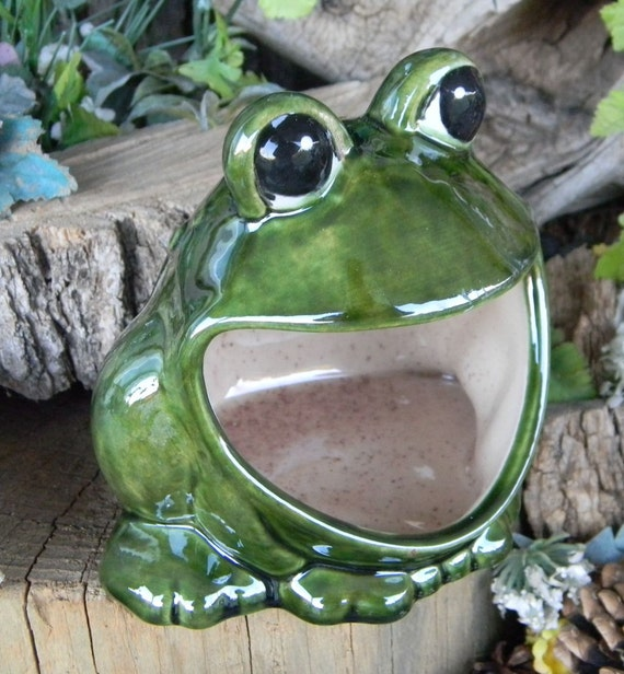 Frog Ceramic Kitchen Sponge Holder Vintage Style Ash Tray