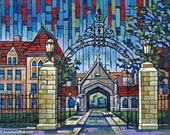University of Chicago, UC Chicago, Hyde Park, Hull Court Gate, Hull Gate, Cobb Gate 8x10 Art Print by Anastasia Mak