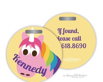 UNICORN Round premium bag tags - 4 inch - click on image to enlarge - seen in Parents magazine and Family Fun magazine
