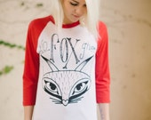 unisex fox baseball tee sizes s, m
