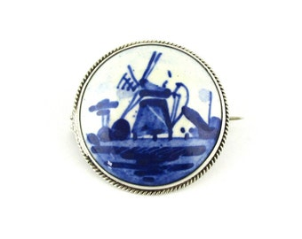 Brooch Blue Delft Porcelain Windmill Hallmarked
