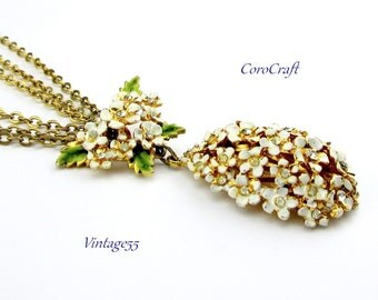 Vintage Pendant Necklace Floral Rhinestone  CoroCraft 1955
