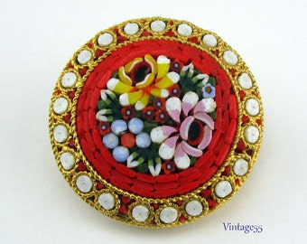 Mosaic Brooch Italy Florals Yellow Red Blue