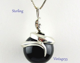 Necklace Sterling Serpent Moon Pendant Black Glass Orb