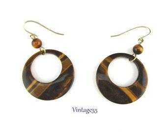 Earrings Tigers eye Hoop Gold Plate