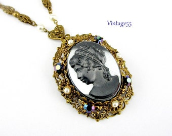 Necklace West Germany Cameo Pendant Brooch