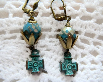 Tombstone Czech Glass Sepia Picasso Earrings
