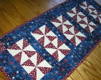 Quilted Table Runner, Patriotic Runner, Americana Runner, Red White and Blue Runner  12 1/2 x 29 inches