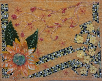 Flower Quilt - Flower Wall Art - Flower Wall Decor - Embroidered Art -3D Wall Art - 3D Flower Wall Art -Yellow Quilt -Nature Art - Art Quilt