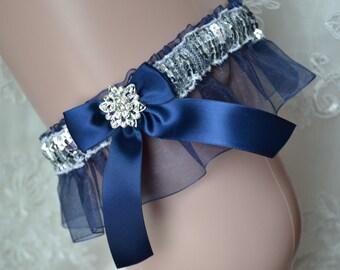 Navy Blue Prom Garter- Silver & Navy Prom Garter-Garter Belt-Garter-Prom Garter-Navy Organza Prom Garter