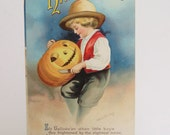 Antique Ellen Clapsaddle Halloween Post Card Boy Carving Pumpkin