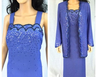 Vintage Beaded Purple Jacket and Dress Set. Plus Size. 14W. Wedding. Formal. Evening Wear. Under 100. Long Maxi Dress. Beaded Dress. Blue