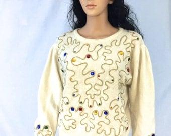 Vintage Off White Sweater. Christmas. Holiday. Festive. Gold. Jeweled. Rafaella. Medium. Angora Rabbit Hair. Lambswool. 1980s. Under 20.
