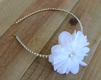 Bridal White Chiffon Flower Fascinator Headband Wedding Hair Piece Rhinestone Head Band Crystal Floral Tiara Crown