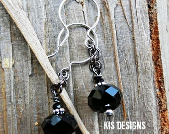 Darkness Crystal Earrings with Sterling Silver