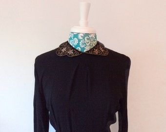 Vintage 1930's dress // black crepe // starburst beads rhinestones // Peter Pan collar evening gown