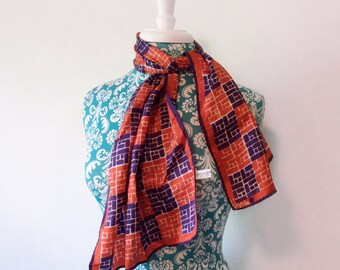 vintage Vera scarf red white and blue // long geometric print