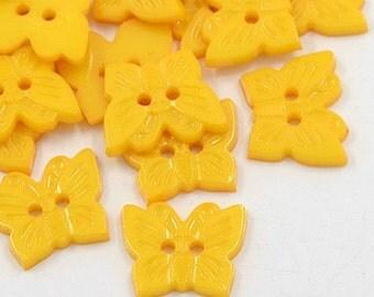 Butterfly Buttons - Set of 50 - Golden Yellow - #BUTTON342