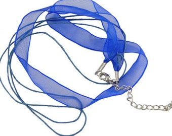 Royal Blue -  Ribbon Necklaces - Sold Individually