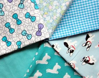 Blue Fabric Bundle - Fat Quarter Fabric Bundle of 6 Prints - Japanese Fabric Bundle