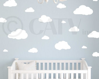 Cute Cloud Removable and Re-useable Vinyl Decal Stickers Set of 21 Self adhesive wall decal kids room nursery decals