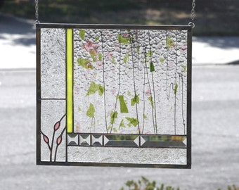 ENGLISH GARDEN - Abstract Stained Glass Window Panel, Stain Glass, Pink, Green, Rose, Clear Bevels, Garden, Flowers, Floral, Ready to Ship