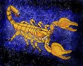 "Gold  Emperor Scorpion, ""Pandinus imperator"" Steam Punk  Iron on Patch"