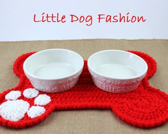 Feeding Mat for Dogs, Placemat for dogs,  Dog products, Snack mat for Dogs, Unique Dog Gift, Dog Christmas Gift, Crochet, Dog Bone, Red