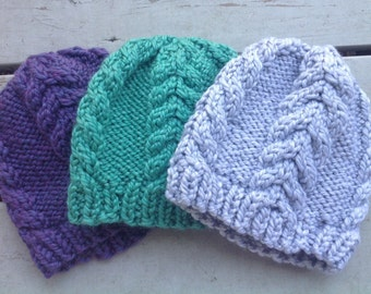Harvey Cedars Knit Hat- Knit Winter Hat- Chunky Hat- Knit Purple Hat- Gray Knit Hat- Cable Knit Hat- Knit Beanie- Jewel Toned Hat