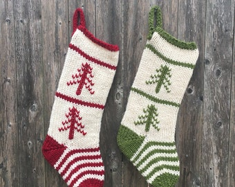 Set of 2 Red & Green Striped Christmas Stockings with Trees, Knit Stockings, Christmas Stockings, Christmas Socks