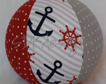 Balloon Ball TOY -  Anchors and Dots - Red Navy and Grey