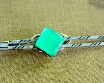 Tie Clip Green Jeweled Silver Tone Vintage